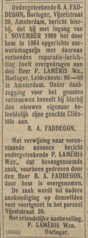 bericht De Tijd 2 nov.1909