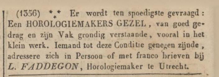 Horlogemakersgezel gevraagd (mei 1844)