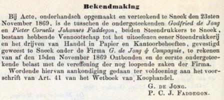 ontbinding firma de Jong - 1869