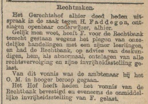 rechtszaak H.Faddegon - nieuws v.d. Dag 14 mrt 1901