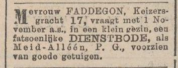 Dienstbode gevraagd (Nieuws van de Dag 9 sept.1901)